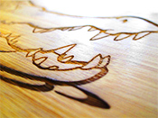 Laser engraving wood fragment